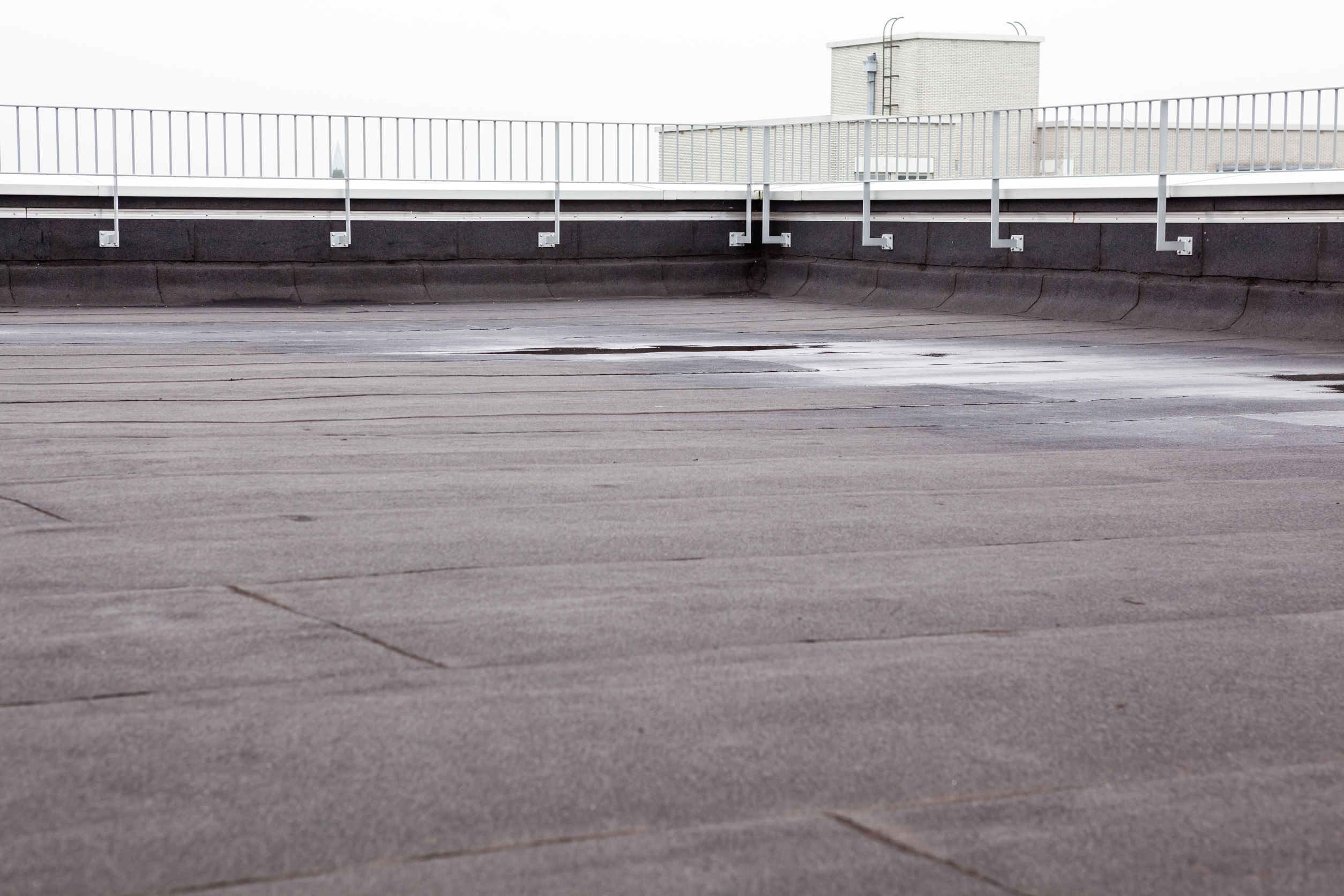 flat roof with roofing